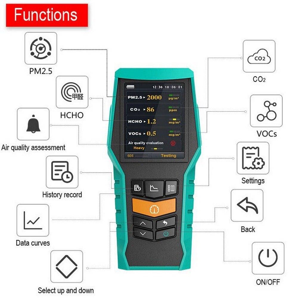 Monitor de calidad del aire portátil PM1.0 PM2.5 PM10 Detector medidor de CO2 Control de formaldehído probador VOCs función de almacenamiento externo TF
