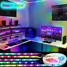 RGB LED Strip Lights WS2811 Dream strip led strip 5050 NO Waterproof Rainbow effect RGB Chasing Multicolor Effect Remote control