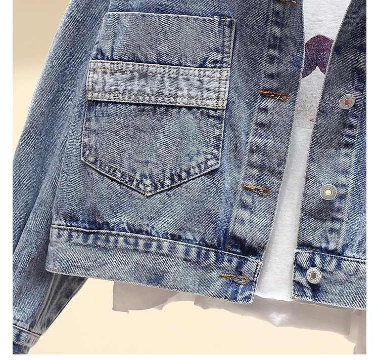 Vintage الدنيم سترة المرأة الربيع معطف ممزق المتضخم ملابس خارجية معاطف سترة واقية صديقها الإناث الجينز سترة حجم كبير
