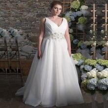 Элегантное свадебное платье размера плюс 2021 с v образным вырезом