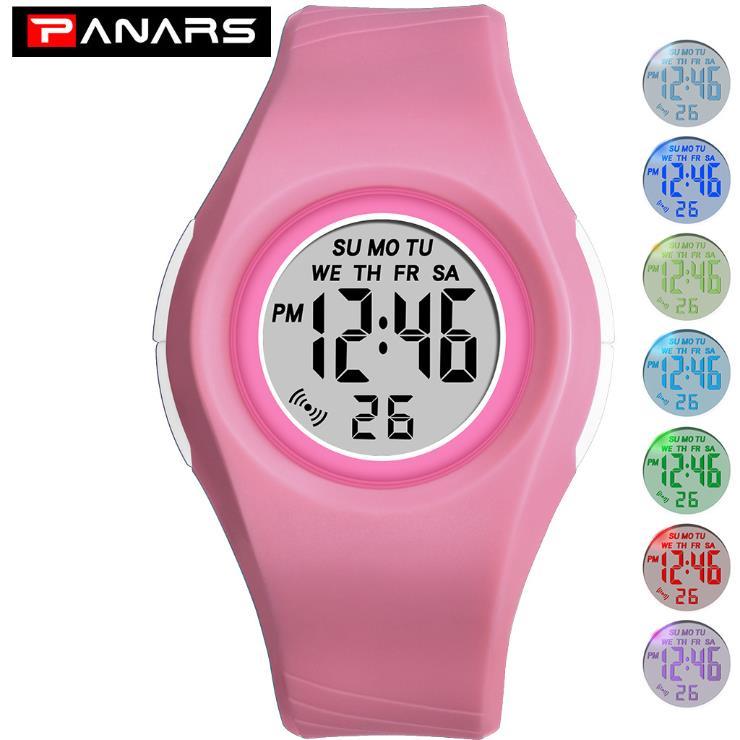 Relógios à Prova Relógio de Pulso Digital para Menino Panars Doces Crianças Dwaterproof Água Esportes Estudante Colorido Luminosa Data Led Menina Cor