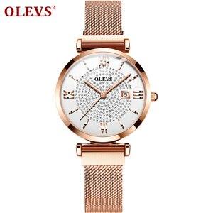 Image 2 - 2020 OLEVS Dress Women Watch Luxury Rose Gold Ladies Wristwatches Japan Imports Quartz Movement Watches Relogio Feminino gifts