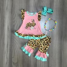spring/summer Easter coral mint bunny top leopard flower capris baby girls clothes cotton ruffles boutique set match accessories
