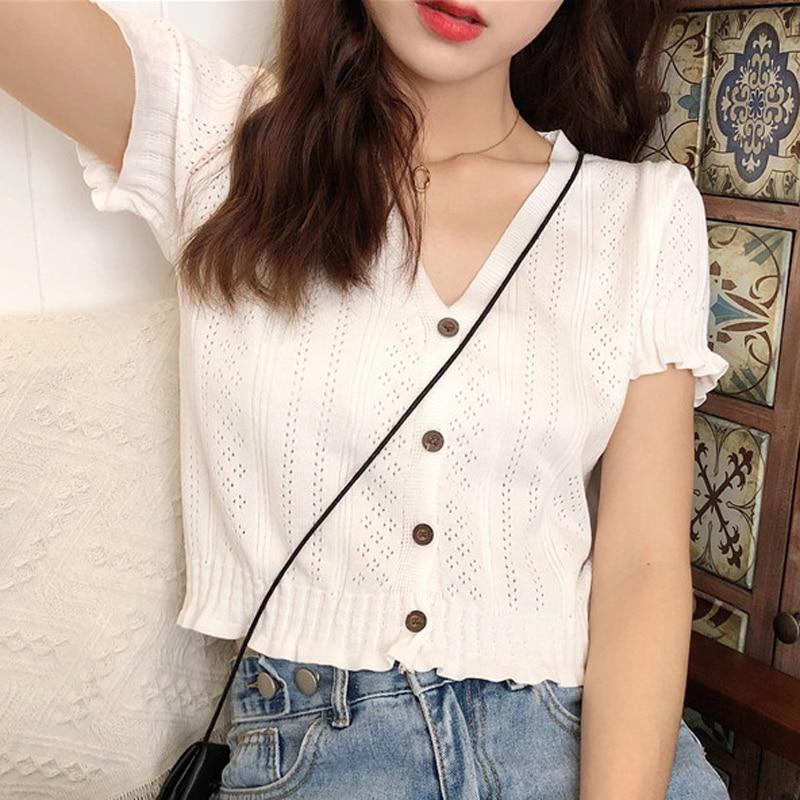 Female Girls V-neck Short Sleeve High Waist Top T-shirt Thin Short Design Women 2019 Ins Knitted Shirts Single Breasted Cardigan
