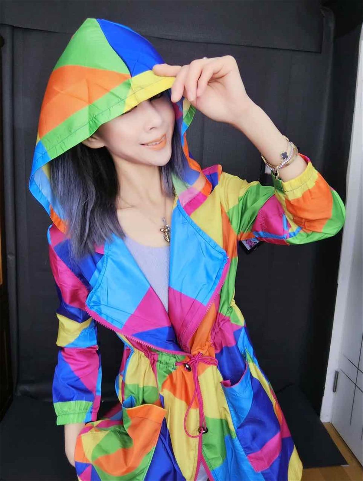 colorful sun-proof women   trench   coat 2019 autumn new hooded zipper loose female elegant outwear cardigan tops plus size 2XL 3XL