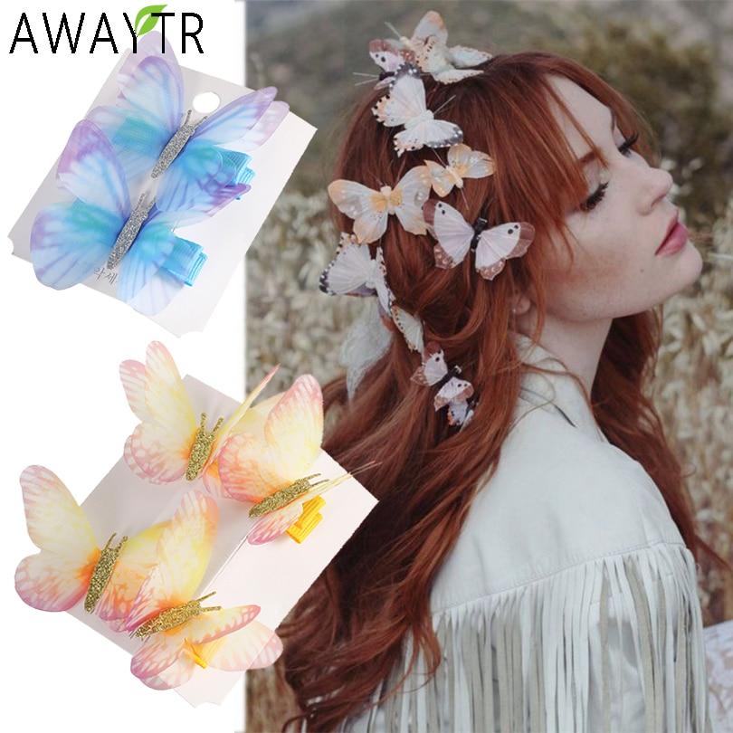 Butterfly Fairy Hair Clip Barrette Hairband Pin Hairpin Headdress Wedding Women
