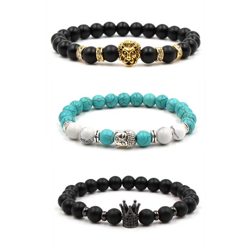 Fashion 8MM Men/'s Natural Stone Gold//Silver Lion Buddha Beaded Charm Bracelets