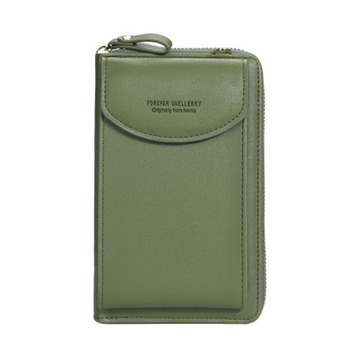 2020 new ladies wallet solid color small Messenger bag multi-function cell phone pocket portable with chain shoulder bags - Green B, One Size