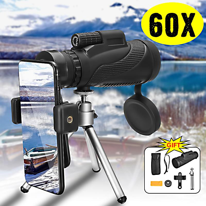 Waterproof 40X60 High Definition Monocular Telescope Night Vision Military HD Professional Hunting W/Tripod Phone Holder