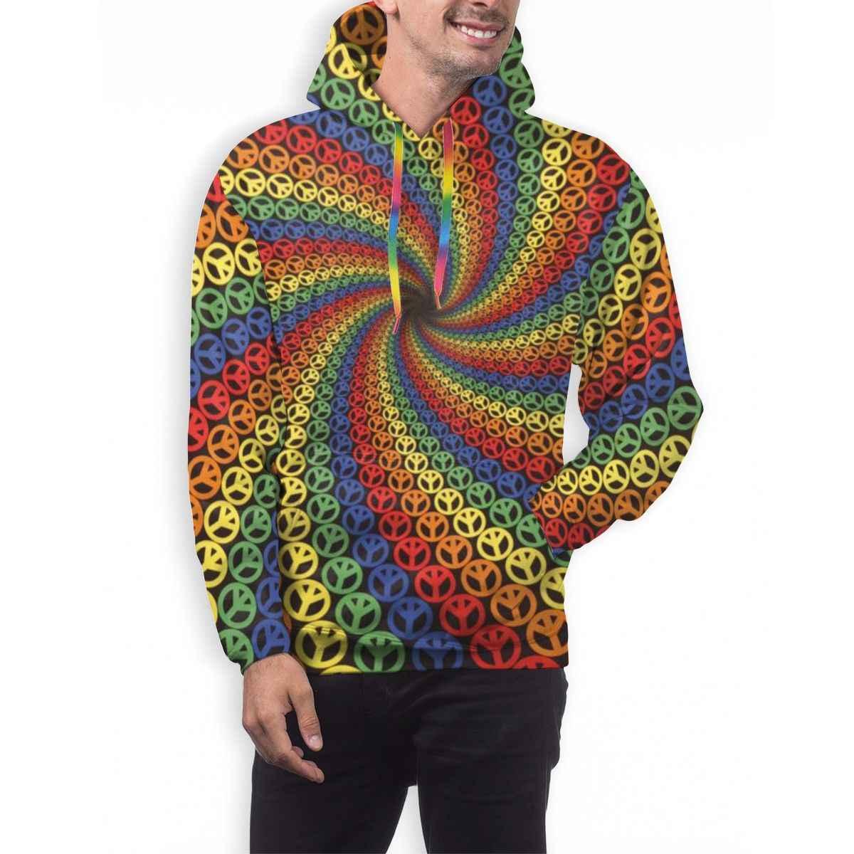 3D Digitale All Over Print Spirale Frieden Psychedelic Hippie Regenbogen Mens Casual Hoodie Mit Kapuze Pullover Hoody Mit Tasche