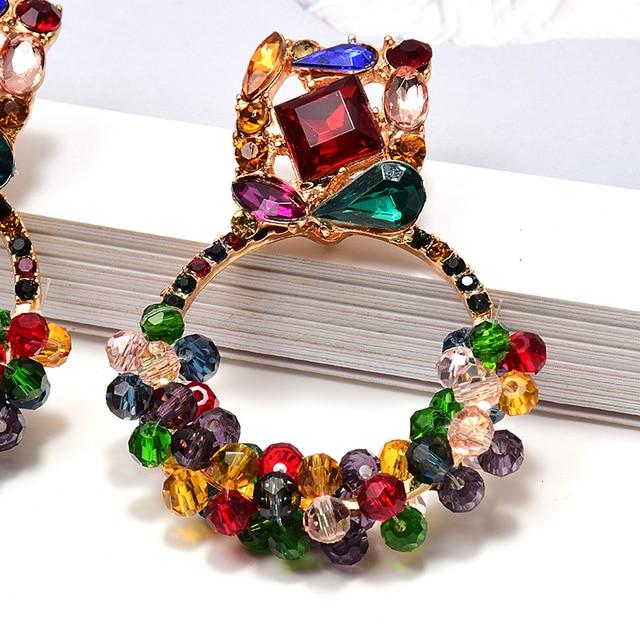 Geometric Colorful Rhinestone Dangle Drop Earrings  5