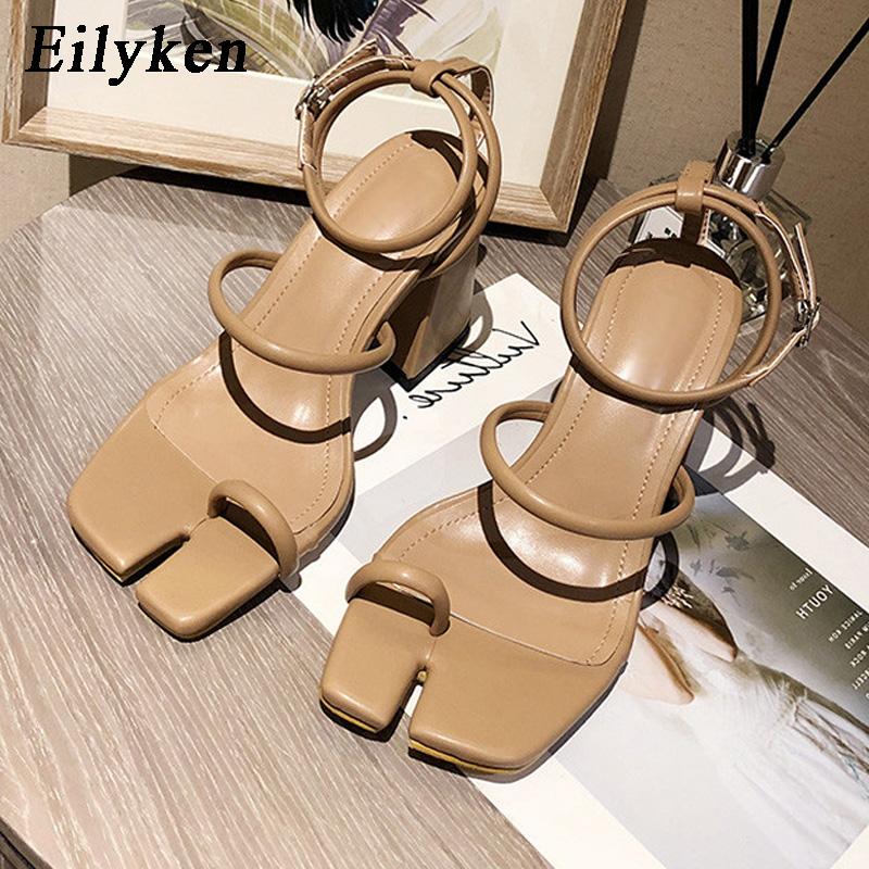 Eilyken 2020 New Design Square Toe High Heel Sandals Summer Outdoor Dress Shoes Ladies Elegant Sandals Ankle Strap Ladies Shoes