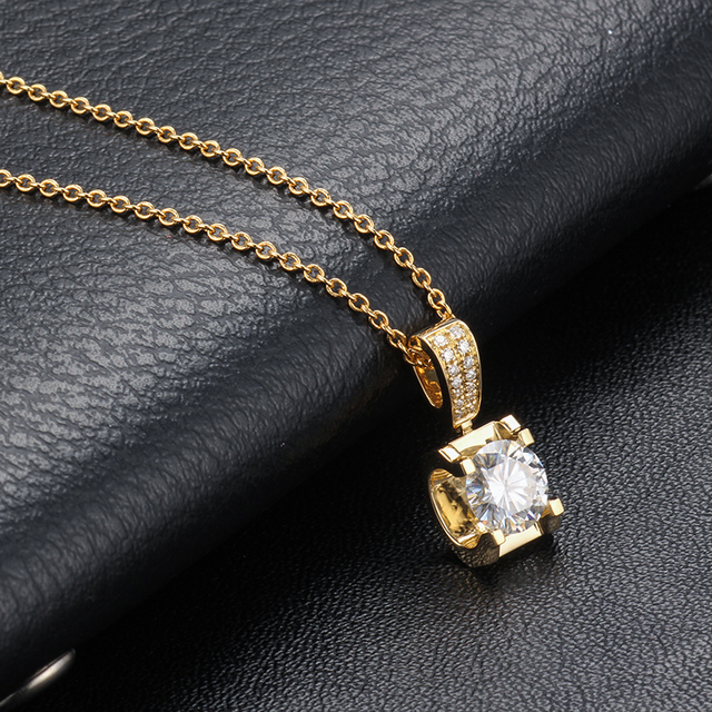 Classic 18K Yellow Gold long Pendant with 1carat round moissanite stone Gold Chain long Necklace Gift For Women in Fine Jewelry 5