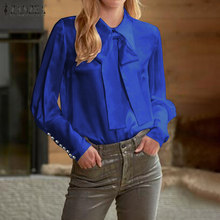 S 3XL ZANZEA Spring Elegant Work Tunic Tops Women Long Sleeve Vintage Solid Bow Tie Shirts Blusas Blouse Female Chemise Robe(China)