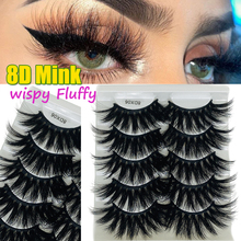 5 Pairs 8D Faux Mink Hair False Eyelashes Wispies Fluffies Drama Eyelashes Natural Long Soft Handmade Cruelty-free Black Lashes