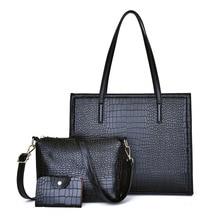 цена на 3pcs/Set PU Leather Bags Retro Handbags Women Large Capacity Shoulder Bag Female Casual Tote Women Messenger Bag