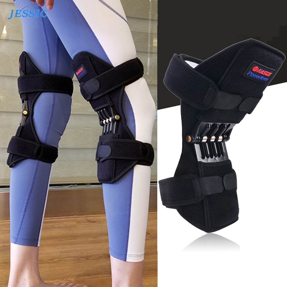 JESSIC 1 Pair Sport Spring Knee Strap Mountain Climbing Running Knee Booster Knee Pad Knee Joint Protection