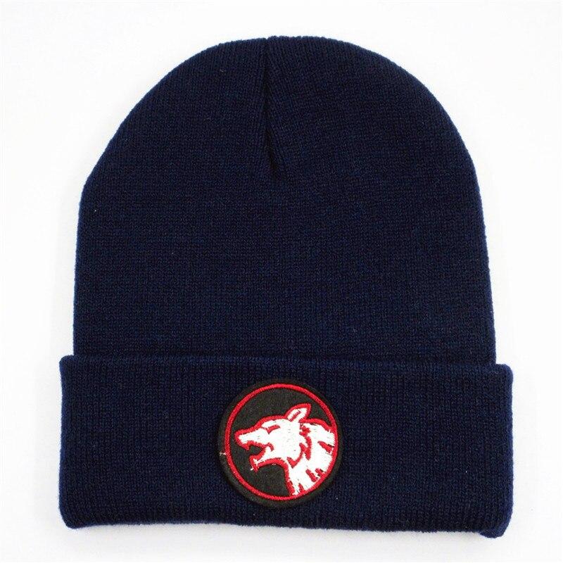 Cartoon Wolf Head Embroidery Thicken Knitted Hat Winter Warm Hat Skullies Cap Beanie Hat For Kid Men Women 253