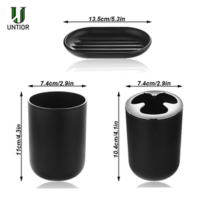 Image 5 - UNTIOR 6 Pcs Plastic Bathroom Accessories Set Toothbrush Holder Toothbrush Cup Soap Dispenser Soap Dish Toilet Brush Trash Can