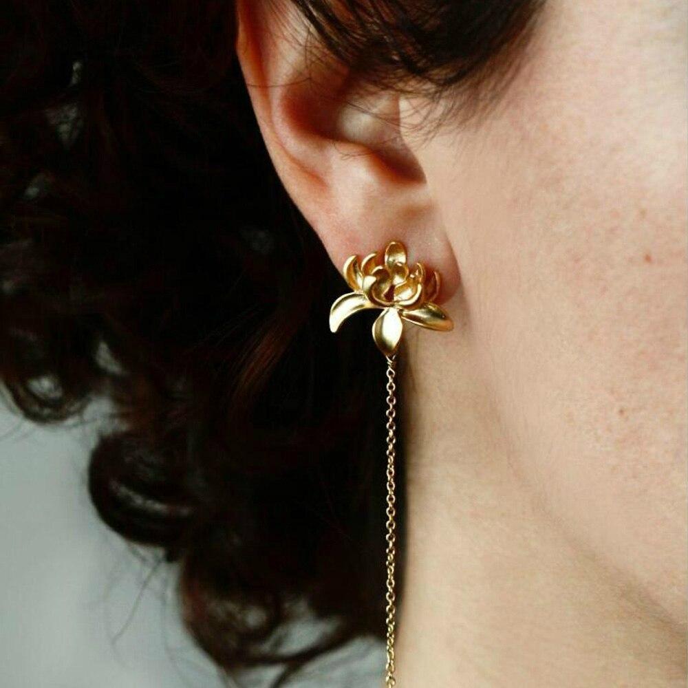 Korean Earrings Fashion Jewelry Lotus Earrings Ear Line Oorbellen Earrings For Women Luxury Stud Earrings Wholesale
