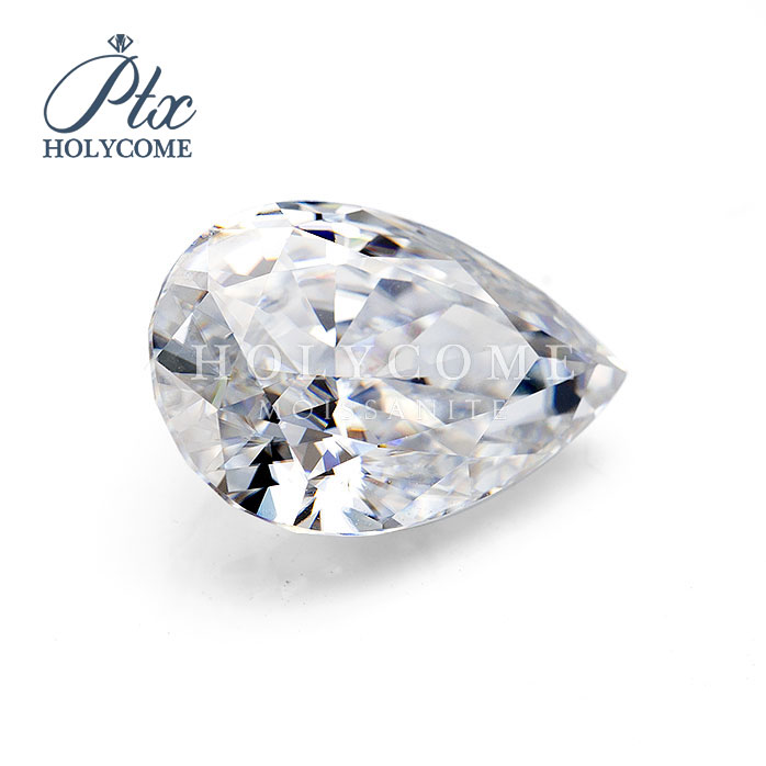 White DEF Clarity High quality CRUSHED ICE Pear cut 12x8mm loose moissanite gemstone VVS WuZhou Holycome Moissanite