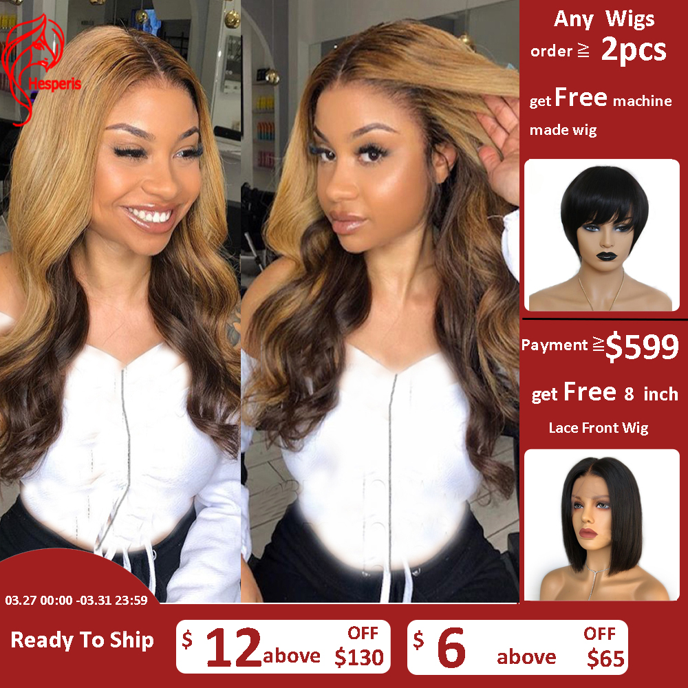 Hesperis Ombre Human Hair Wig Pre Plucked With Baby Hair Brazilian Remy Hair 13x6 Highlight Lace Front Wigs For Women 99j Blonde