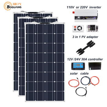Boguang 300w solar panel 12V 24V + 30A controller +110 Volt 220V 1000w Power Inverter Off-Grid 12 Volt Battery System 300 watt solar panel home350w 36v 10pcs zonnepanelen 3500 watt 3 5kw solar battery charger on off grid solar power system roof floor