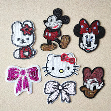 Fashion Cartoon animals Sequined Patches kids Bow Glitter Stickers DIY patch Fabric Appliques Embroidered Iron On clothes Badge(China)