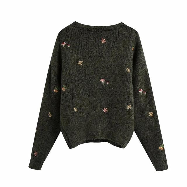 XNWMNZ Za women Vintage knit cardigan with embroidery Long sleeves V-neck ribbed trims Cardigan Female Elegant sweater Outerwear 2