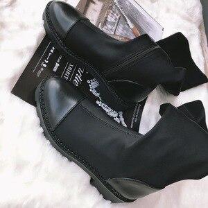 Image 5 - 2020 Slim למתוח לייקרה הברך גבוהה מגפי פלטפורמת חורף מגפי נשים ארוך מגפי חורף נעלי נשים גרב מגפי מעל את הברך מגפיים