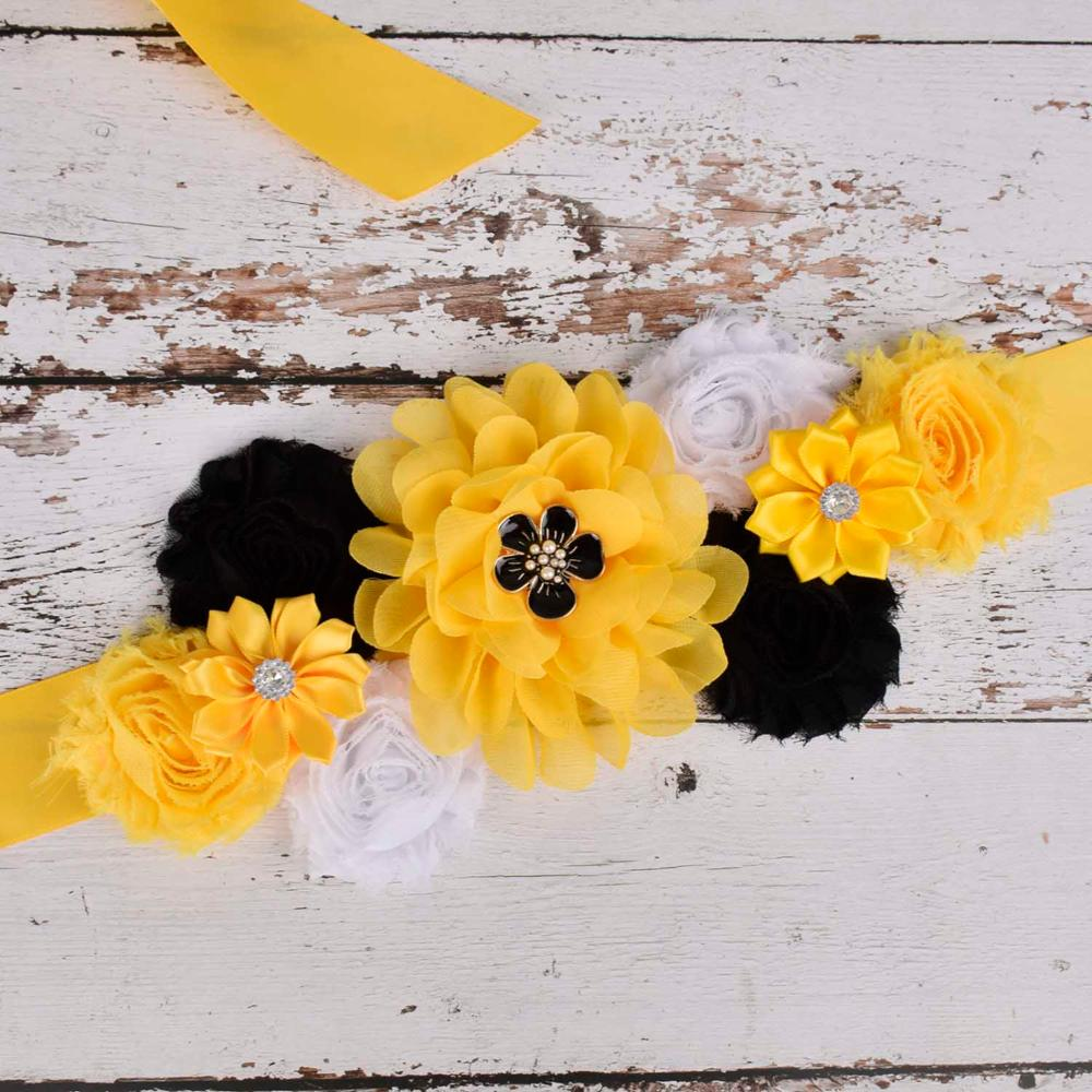 Yellow/Black/White Flower Sash Maternity Sash Pregnancy Belly Belt Wedding Bridal Floral Waistband Baby Shower Party Photo Props