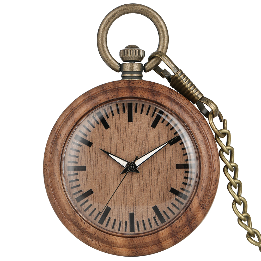 Classic Walnut Case Pocket Watch For Women Concise Big Dial With Luminous Pointers Necklace Male Clock Orologio Da Taschino