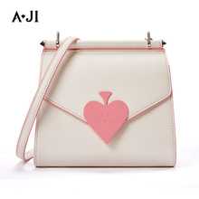 AJI Girls Heart Design Fashion Messenger Bag Women One Shoulder Crossbody PU Leather Flap 2019 New Arrival A6139