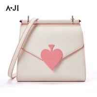 AJI Girls Heart Design Fashion Messenger Bag Women One Shoulder Bag Crossbody PU Leather Flap Bag 2019 New Arrival A6139