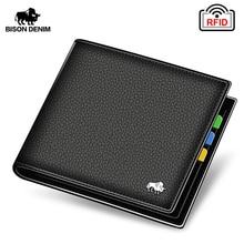 цена на BISON DENIM Genuine Leather Men Wallets Brand Luxury RFID Bifold Wallet Zipper Coin Purse Business Card Holder Wallet N4470