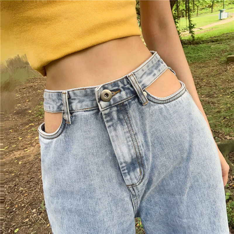 High Waist Women Jeans Denim Ripped Destroyed  Vintage Cool Stretch  Casual Jeans Denim Blue Trousers