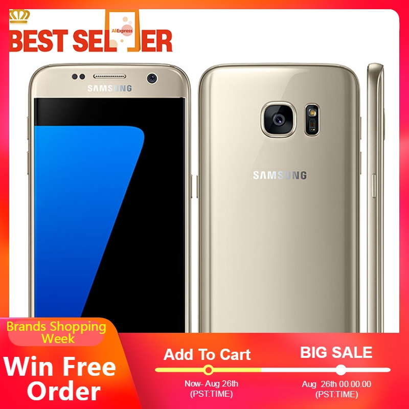 Unlocked Original Samsung Galaxy S7 4G LTE Mobile Phones G930F G930V G930A 5.1 Inch 4GB RAM 32GB ROM NFC GPS 12MP Camera Phones