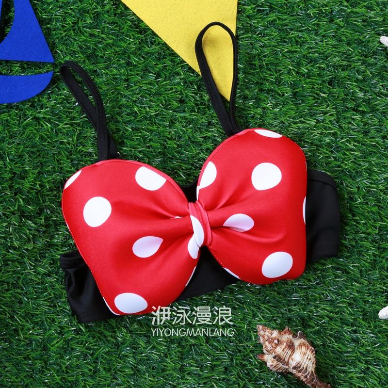 2016 Yi Swimming Diffuse Wave Korean Style Sexy Bikini Children GIRL'S Swimsuit Polka Dot Cute Mickey Bow 304