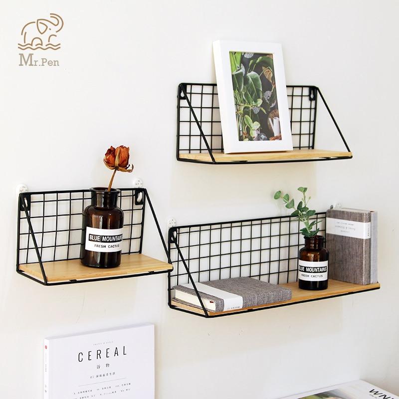 New Office Wall Shelf Rack Iron Wooden Shelf For Kitchen Bedroom Office Decorative Wall Shelves Organizer DIY Desk Storage Rack