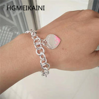 925% pure silver bracelet 1:1 high end fashion accessories in Europe and the original ms love pink enamel charm jewelry
