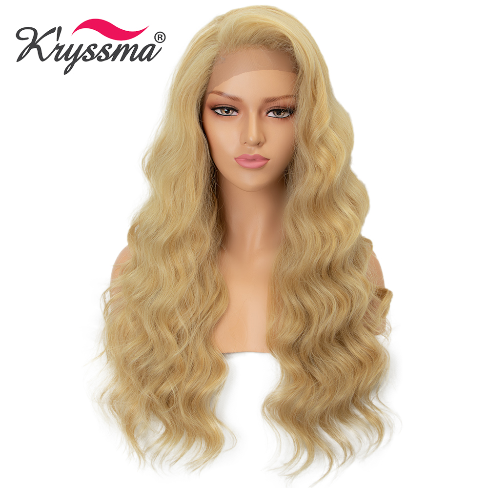 Kryssma Long Wavy Synthetic Lace Front Wig Blonde Wigs Mix Black Cosplay Wigs For Women Right Part Heat Resistant Fiber Hair