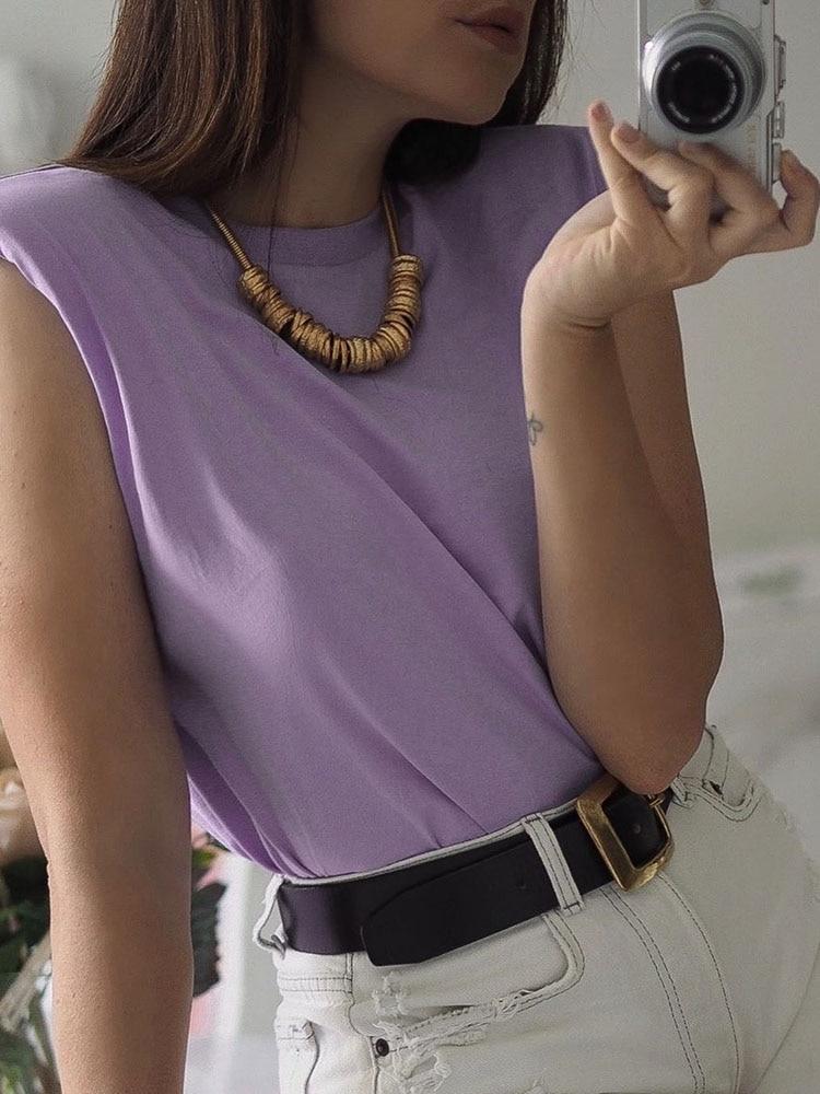 2020 Women za Fashion Solid 95% Cotton Shoulder pad T-shirt Vintage O-Neck Sleeveless Tops Casual Girls Streetwear 12