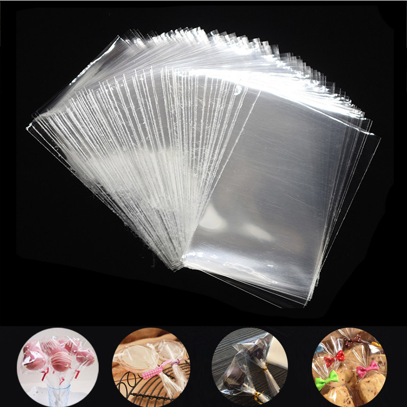 100Pcs Transparent Plastic Bags for Candy Lollipop Cookie Packaging Cellophane Bag Christmas Wedding Birthday Party Gift Bag(China)
