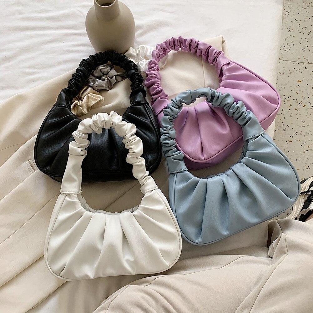 Folds Design Small PU Leather Shoulder Bags For Women 2020 Elegant Dumplings Handbags Female Travel Totes Fashion Evening Clutch