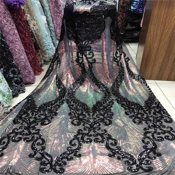 New 2020 (5 yards / PC) NEW high quality black Africa hand-cut organza lace fabric with sequins for large party dresses.YYZ00