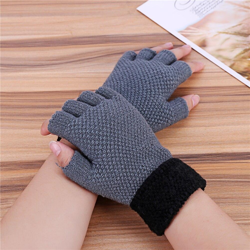 Мужские зимние перчатки, вязаные перчатки без пальцев, Брендовые спортивные черные перчатки для мужчин|Мужские перчатки|   | АлиЭкспресс