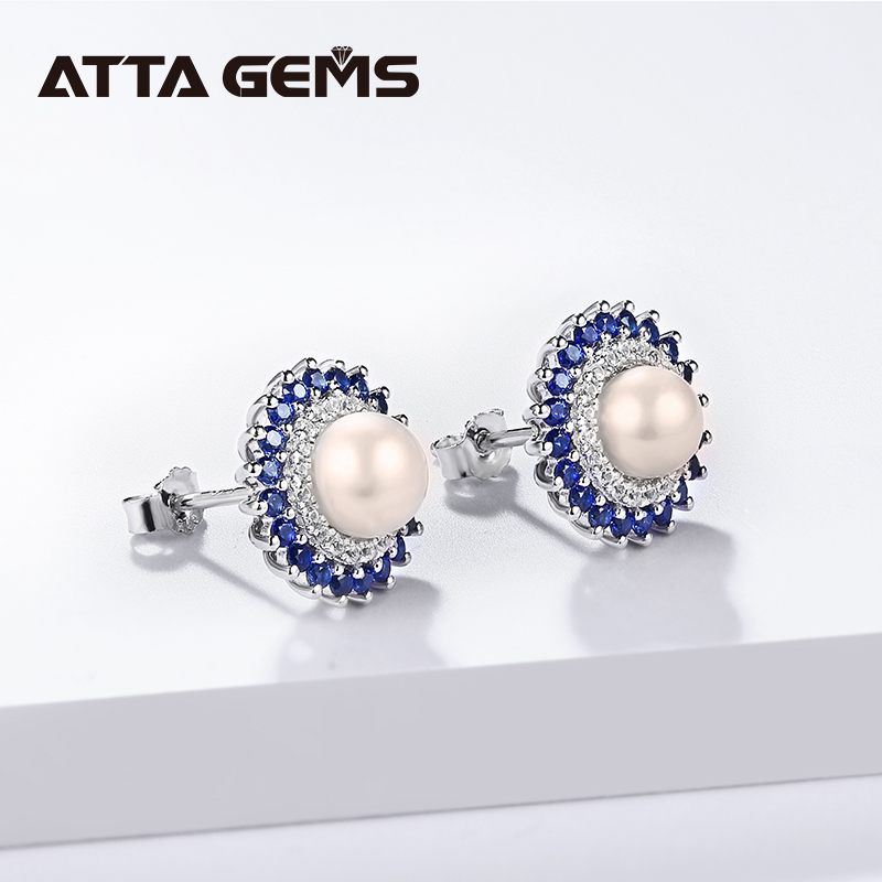 Natural Freshwater Pearl Silver Stud Earring for Women Fine Jewelry Created Blue Sapphire Elegant Office Style for Women Jewelry