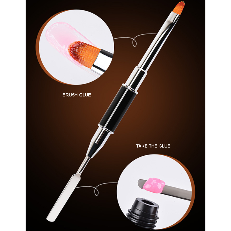 1Pc 2 In 1 UV Poly Gel Nail Brush Dual ended Slice Shape PolyGel Brush Tool For Acrylic UV Nail Tips Extension in Nail Brushes from Beauty Health