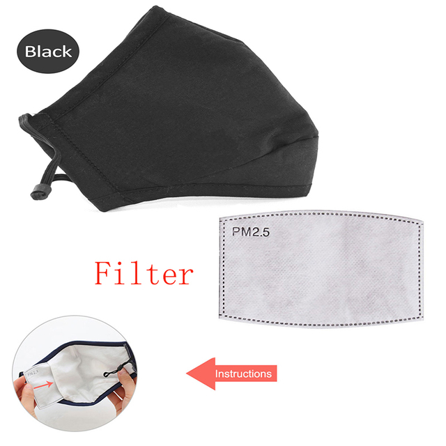 Cotton PM2.5 Black mouth Mask anti dust mask Activated carbon filter Windproof Mouth-muffle Dust Mask proof Flu Face masks care