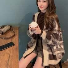 Свободный клетчатый свитер женский осенне зимний новый высококлассный